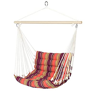 Best Choice Products Deluxe Padded Cotton Hammock Hanging Chair Indoor Outdoor Use- Orange