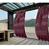 Macochico 150Wx 102L Burgundy Extra Wide Outdoor Waterproof Curtains Blackout Draperies Panels for Patio Garden Backyard Gazebo Cabana Windproof Thermal Insulated Privacy Protection (1 Panel)