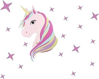 falllea 1 Paquete de Unicornio y Estrellas Pegatinas de Pared, Unicornio Etiqueta de Vinilo Decoración Infantil para Niña ...