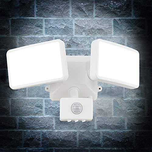 20W-Weiß LED Strahler mit Bewegungsmelder einstellbar,LED Außenstrahler Dual-Kopf,IP65 Wasserdicht,1600lm,6000K Tageslichtweiß,Led Flutlicht Bewegungsmelder für Hof,Garten,Flur,Park,Garage und Eingang
