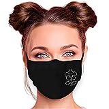 Selldorado® Premium Mund und Nasenschutz schwarz waschbar mit Strass Steinen verziert, Stoffmaske Glitzer für Damen, Größenverstellbar mit zwei Einlegern (Blume (Strass))