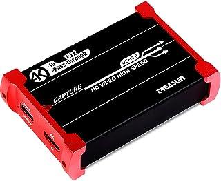 TreasLin USB3.0 HDMI ビデオキャプチャーボード Switch PS5 PS4 PS3 Xbox Wii U用サポート(HDMI 4K入力 4Kパススルー、HD HDMI 1080P60FPSゲーム録画・HDMIビデオ録画・ラ...