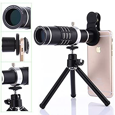 Camera Lens Kit,WMTGUBU 4 in 1 HD Universal Clip-On Phone 18X Optical Zoom Telephoto Lens+15X Macro Lens+0.6X Wide Angle Lens Tripod for iPhone Samsung Huawei Ipad Tablet PC Laptops(Black)