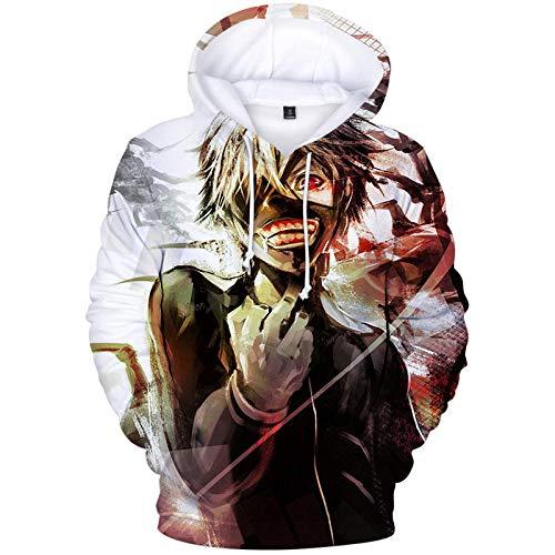 Tokyo Ghoul Hoodie Sweatshirt 3D-Druck Horror Kordeltasche Pullover Sportswear Unisex Hoody für Männer-A_L