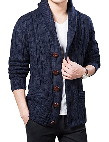 Yeokou Men's Casual Slim Thick Knitted Shawl Collar Cardigan Sweaters Pockets (Medium, Z-Dark Blue)