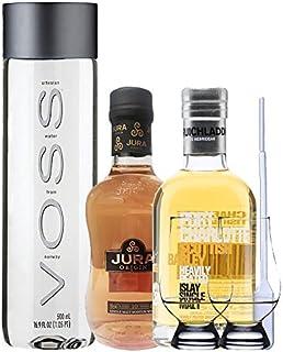 Whisky Probierset Isle of Jura 10 Jahre 0,2L und Bruichladdich Port Charlotte 0,2L  500ml Voss Wasser Still, 2 Glencairn Gläser und eine Einwegpipette