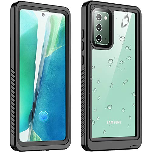 Vapesoon Galaxy Note 20 Waterproof Case, Protective Clear Cover with Built-in Screen Protector, IP68 Waterproof Shockproof Case for Samsung Galaxy Note 20 6.7 Inch (Black/Clear)
