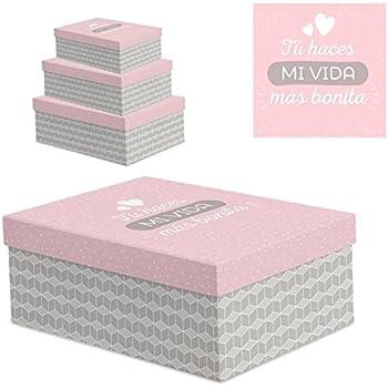 """Juego 3 cajas regalo diseño frases """" VIDA BONITA """""""