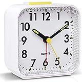 Tisaika Silent Alarm Clocks Bedside Non Ticking Battery Powered Table Clocks Luminous Large