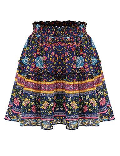Bbonlinedress Damen Rock Röcke Sommerrock Minirock Kurz Röcke Skirts im Sommer B-Navy S