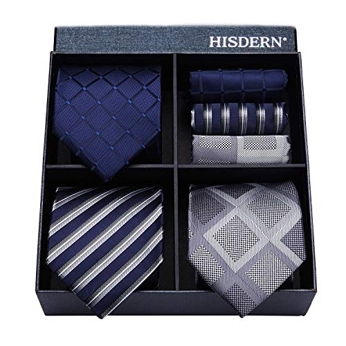 HISDERN Lot 3 PCS Classic Men's Tie Set Necktie & Pocket Square Elegant Neck Ties Collection,T3-10,One Size
