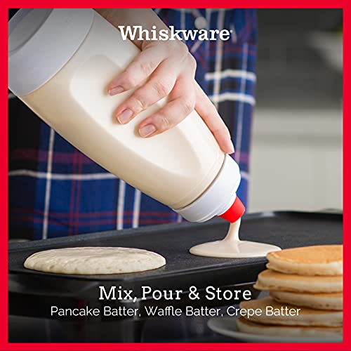 Whiskware Pancake Batter Mixer and Dispenser with BlenderBall Wire Whisk, Pack of 1, White