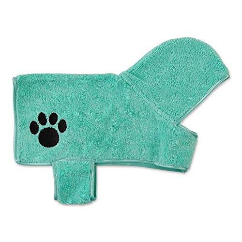 Bone Dry Pet Collection Embroidered Terry Microfiber, Pet Robe - Small, 17x14, Aqua