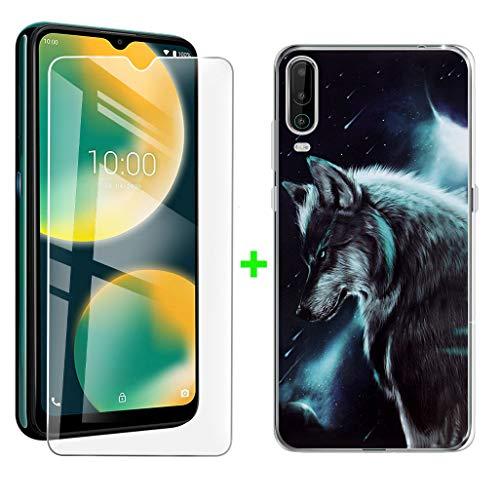 ZXLZKQ Hülle + Panzerglas Schutzfolie für Wiko View4 (6.52 Zoll), Transparent hülle silikon Bumper Cover TPU Hülle Handyhülle Und 9H Gehärtetes Glas Film - Einsamer Wolf