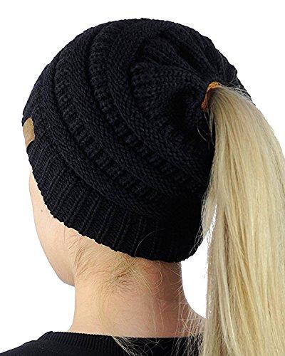 Ehpow Damen Plain Ponytail Messy Bun Gerippte Winter Beanie Hut Cap Hair Hairband (Schwarz)