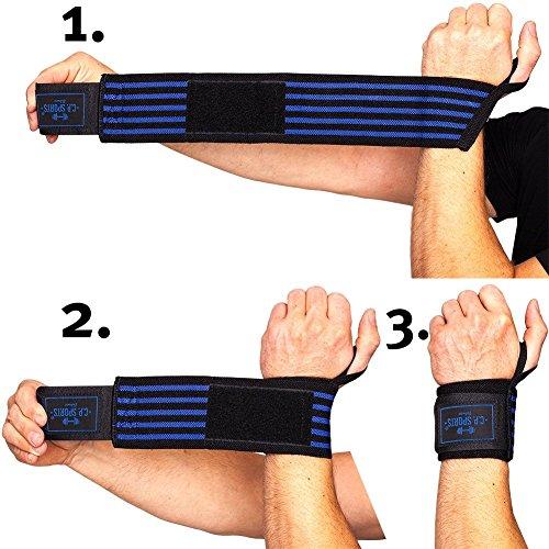 C.P. Sports Strongman-Handgelenkbandagen 50cm blau - 3