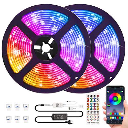 LED Strip Lights Music sync APP Control,Waterproof Flexible RGB LED Strip Lights 32.8ft Color Changing Rope Lights LED Tape Lights Neon Mood Lights Room Bedroom