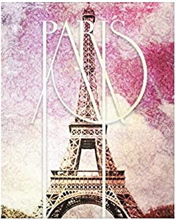 VEHFA Girly Pink Purple Damask Eiffel Tower Paris Canvas Wall Art for Home Decoration Wooden Framed 16