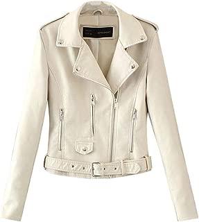 🌟 Sherostore 🌟 Women's Faux Leather Jacket Lapel Moto Biker Short Coat Jacket Zip Punk Cropped Coat Size 3XL