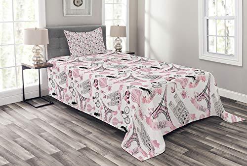 ABAKUHAUS Eiffel Tagesdecke Set, Liebe in Paris Bridal Pink, Set mit Kissenbezügen Sommerdecke, für Einzelbetten 170 x 220 cm, Weiß Schwarz Puder Rosa
