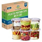 SafeWare [5.5oz-200 set] Disposable Clear Plastic Jello Shot Cups with Lids, Souffle Portion Container