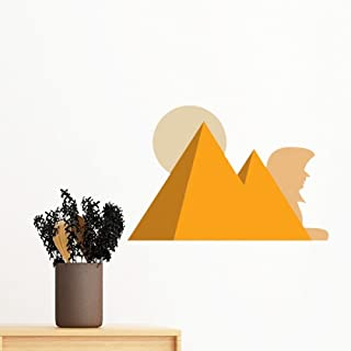 DIYthinker Egypt Culture Yellow Sphinx Pyramids Sun Abstract Illustration Pattern Removable Wall Sticker Art Decals Mural ...