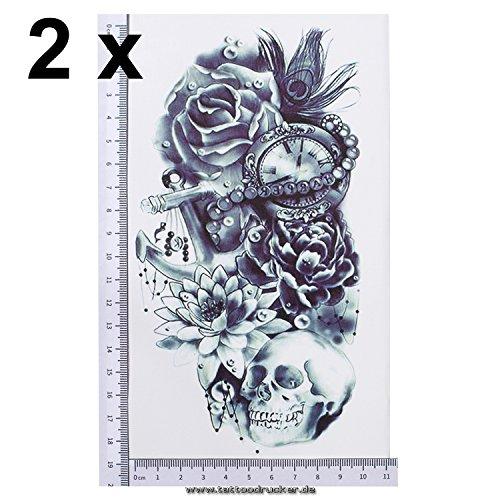 2 x ARM Tattoo SCHWARZ bis DUNKEL BLAU Temporäres Tattoo zum Kleben Totenkopf mit Lotus Rosen Blumen für Arm Körper Rücken Bein Z039 Wasserdicht (2)