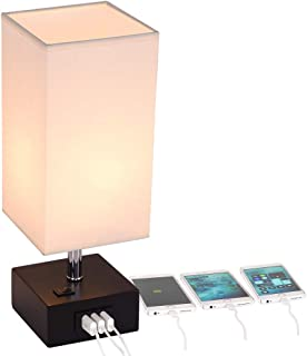 USB Table Lamp,Dreamholder Bedside& Desk Lamp with 3 USB Charging Ports,Wooden Base Nightstand Lamp with Cream Fabric Shade,Perfect Lamps for Bedroom,Living Room,Nightstand,Guest Room, Office