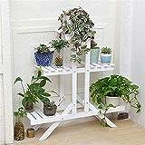 Jardinière en bois massif Jardinière de trois étages Affichage étage Succulentes stand usine Jardinière Pot de fleurs d'affichage Support de rangement personnalité ( Color : White , Size : 85*26*85 )