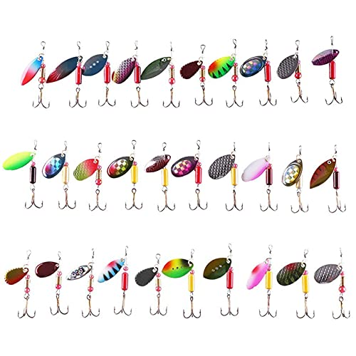 LotFancy Fishing Lures, 30 PCS Spinner Baits for Bass Perch Pike