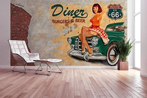 awallo Fototapete – Motiv «American Diner» in Beige, Grau, Grün, Rot | 400x270cm | XXL Bild-Tapete Wand-Bild Digitaldruck | hochwertige Vliestapete – Made in Germany | einfache Verarbeitung