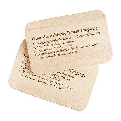 Casa Vivente 2er Set Frühstücksbrettchen mit Gravur – Definition Oma & Opa – Personalisiert mit Namen – Brotbretter aus hellem Holz – Geschenkidee für Großeltern – ca. 23 x 15 x 1 cm