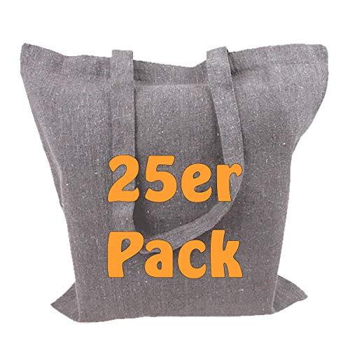 Cottonbagjoe Recyclingtasche aus recycelter Baumwolle Öko - Baumwolltaschen robust mit dickem Stoff und Langen Henkeln (Grau, 25 Stück)