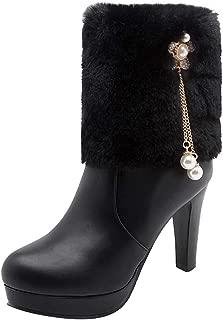 Women's Rhinestone Booties Faux Fur Chunky High Heel Platform Short Boots with Zipper