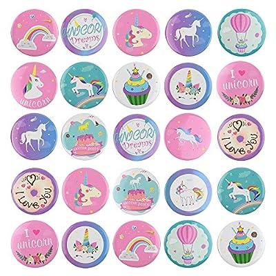 TUPARKA 30 Piezas Pins Unicornio Botones Insignias del Arco Iris Pin Backs para Ropa Mochilas Mochilas, favores de Fiesta de cumpleaños Unicorn Theme Suministros del Partido