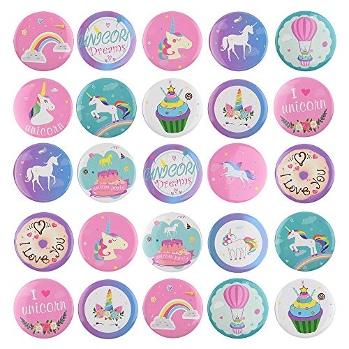 TUPARKA 30 Pezzi Unicorn Pins Bottoni Arcobaleno Distintivi Pin Backs per Gli Abiti Borse Zaini, Festa di Compleanno Bomboniere Tema di Unicorno