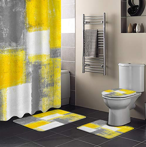 Chucoco Abstract Geometric 4 Pieces Shower Curtain Sets with Non-Slip Rug, Toilet Lid Cover and Bath Mats, Yellow Gray Painting Decorative Waterproof Bathroom Curtains