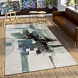 Paco Home Teppich Modern Leinwand Optik Splash Brushed Designer Teppich Türkis Creme, Grösse:160x230 cm