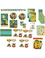 The Lion King Birthday Party Supplies Bundle for 16 includes Dessert Plates, Napkins, Cups, Table Cover, Banner, Loot Bags, Masks, Stickers, Candles