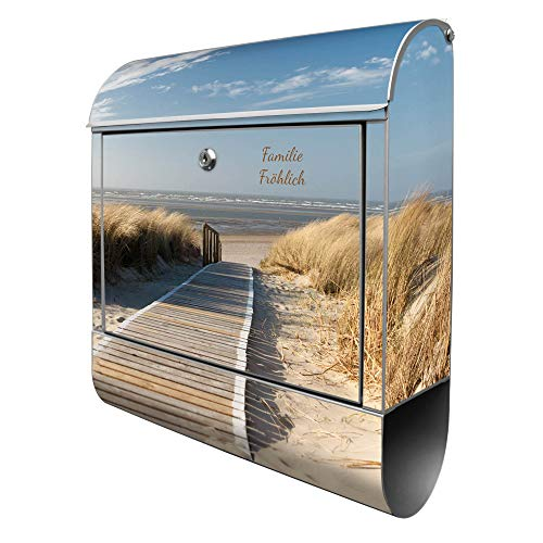 Banjado Design Briefkasten personalisiert mit Motiv Dünen | Stahl pulverbeschichtet mit Zeitungsrolle | Größe 39x47x14cm, 2 Schlüssel, A4 Einwurf, inkl. Montagematerial