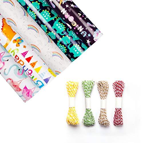 Amycute 5 Bögen Geschenkpapier edel Set- Flamingo/Einhorn/Dinosaurier/Happy Birthday/Regenbogen Design DIY Packpapier Geschenkverpackungen für Geburtstag,Hochzeit,Weihnachten Halloween Geschenk.