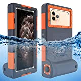 Willbox Professional [15m/50ft] Diving Surfing Swimming Snorkeling Photo Video Waterproof Protective Case Underwater Housing for Galaxy and iPhone Series Smartphones with Lanyard (Orange)