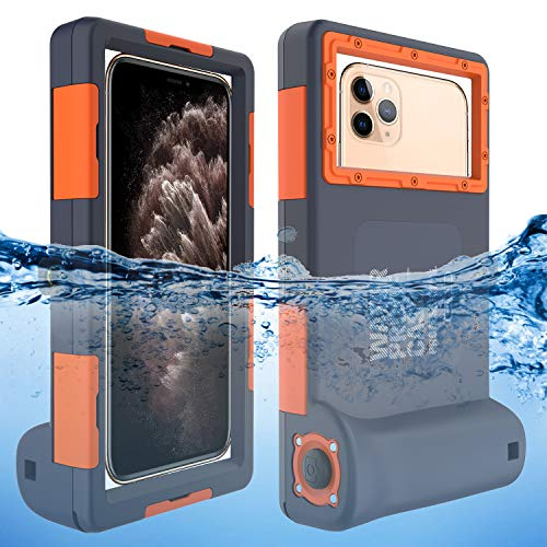 Willbox Professional 15m/50ft Diving Surfing Swimming Snorkeling Photo Video Waterproof Protective Case Underwater Housing for Galaxy and iPhone Series Smartphones with Lanyard Orange