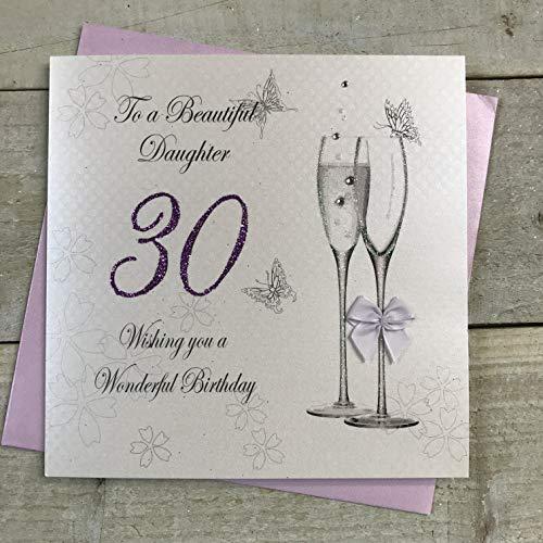 witte katoenen kaarten Aan een Mooie Dochter 30 Wensen U een Prachtige, Handgemaakte 30e Verjaardagskaart (Code BD10-30)