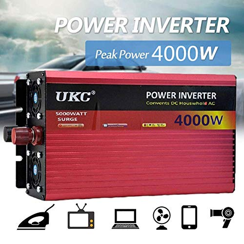 2500W/ 3000W/ 4000W High Power Wechselrichter, DC 12V/24V/48V/60V To Ac 220V, Spannungswandler Sine Inverter Konverter mit Steckdosen & USB-Anschluss, Suitable for Wohnmobil Auto LKW PKW,60V-4000W