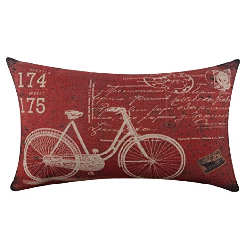 Pillow Covers Decorative 18x18 , Linen Sofa Cushion Case with Zipper ,Retro Bike Pattern Style Pillowcases (Red - 30cm x 50cm)