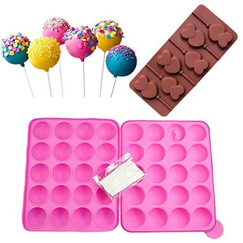 Set di Stampi per Cake Pop,20 Cavità in Silicone Lollipop Mold+Stampo in Silicone per Lecca-Lecca a 6 Cavità + 20 Bastoncini per Cake Pop,Ideali per Caramelle, Lecca-Lecca,Cake Pop e Cupcake