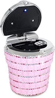 eing Car Ashtray with Bling Bling Diamond Auto Cigarette Odor Smoke Remover Cylinder Cup Holder with LED Lamp,Pink