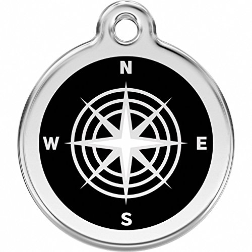 K9 Palace Red Dingo Stainless Steel with Enamel Pet I.D. Tag - Compass (Black, Medium)