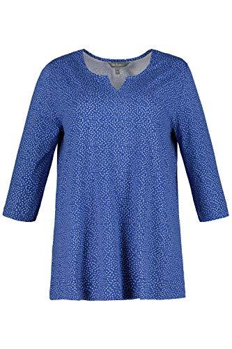Ulla Popken Damen große Größen bis 64, Shirt mit Pünktchenmuster, Tunika-Ausschnitt, 3/4-Ärmel, Bequeme Passform, stahlblau 54/56 720604 70-54+